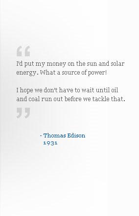 Thomas Edison on Solar Energy
